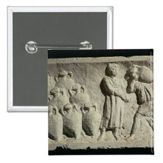 Relief depicting a delivery of wine 2 inch square button
