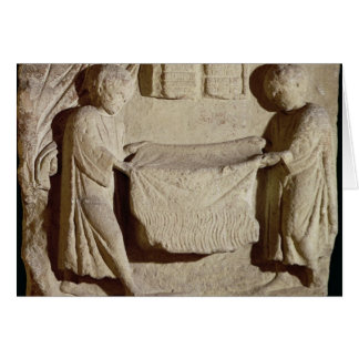 Relief depicting a draper in his shop card