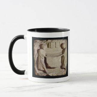 Relief depicting a draper in his shop mug