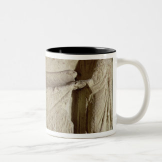 Relief depicting a draper in his shop Two-Tone coffee mug
