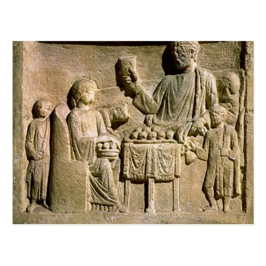 Relief depicting a family meal postcard