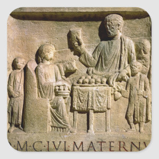 Relief depicting a family meal square sticker