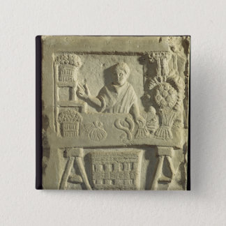 Relief depicting a flower and vegetable seller button