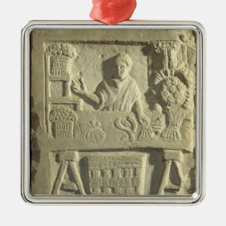 Relief depicting a flower and vegetable seller square metal christmas ornament