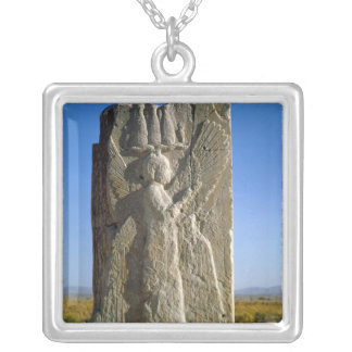 Relief depicting a four-winged spirit silver plated necklace