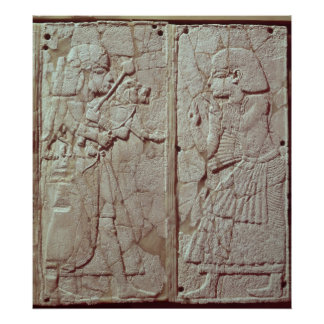 Relief depicting a guard holding poster