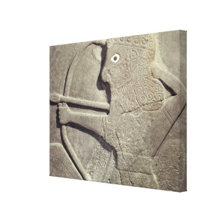 Relief depicting a hunter, from Tell-Halaf, Canvas Print