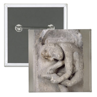 Relief depicting a man 2 inch square button