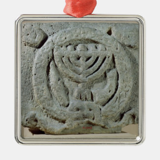 Relief depicting a menorah metal ornament