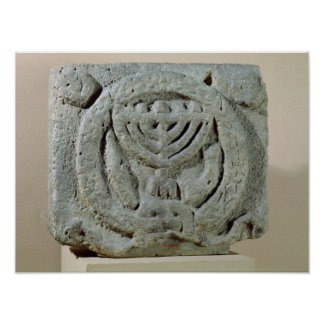 Relief depicting a menorah posters