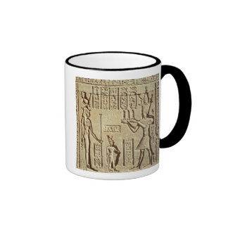 Relief depicting a pharaoh ringer coffee mug