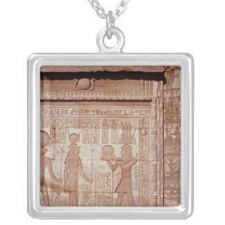 Relief depicting a pharaoh square pendant necklace