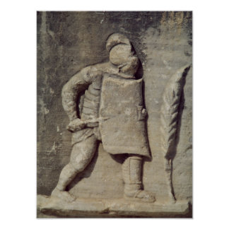 Relief depicting a Roman soldier Poster
