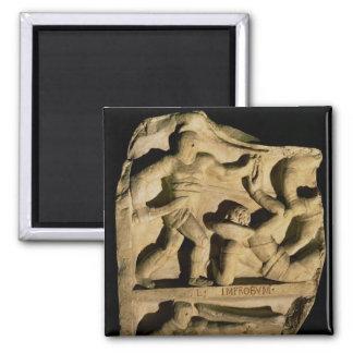 Relief depicting a samnite defeating a retiarius 2 inch square magnet