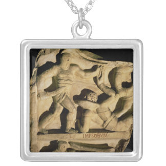 Relief depicting a samnite defeating a retiarius silver plated necklace