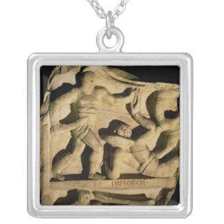 Relief depicting a samnite defeating a retiarius square pendant necklace