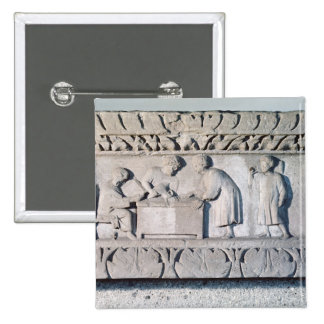 Relief depicting a tax collecting scene 2 inch square button