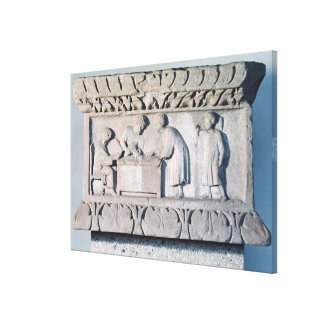 Relief depicting a tax collecting scene canvas print