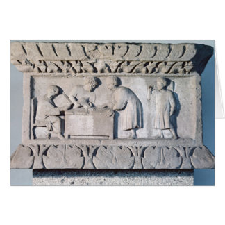 Relief depicting a tax collecting scene greeting card
