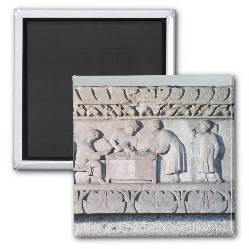 Relief depicting a tax collecting scene refrigerator magnets