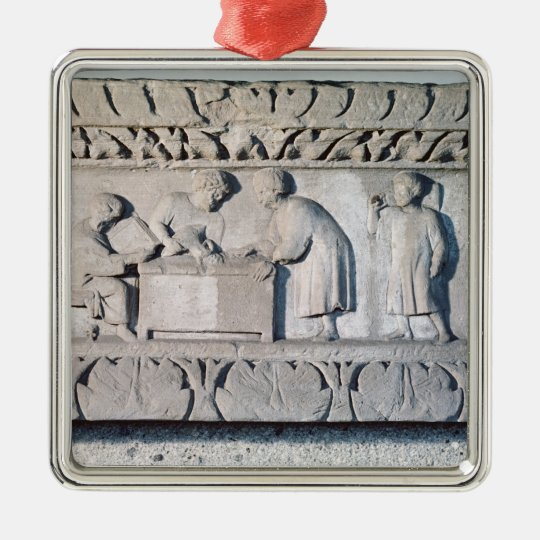 Relief depicting a tax collecting scene metal ornament
