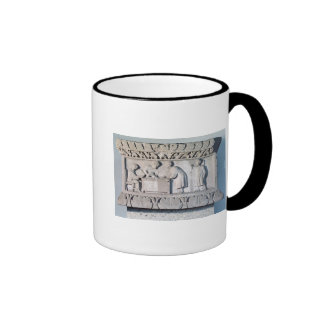 Relief depicting a tax collecting scene ringer mug