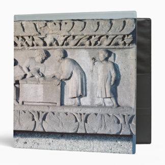 Relief depicting a tax collecting scene vinyl binder
