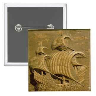 Relief depicting a Venetian galleon 2 Inch Square Button
