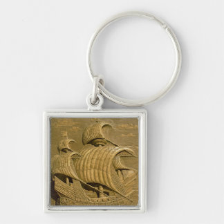 Relief depicting a Venetian galleon Silver-Colored Square Keychain