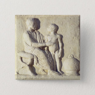 Relief depicting a visit to the doctor button