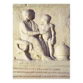 Relief depicting a visit to the doctor postcard