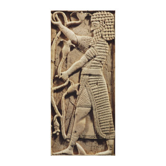 Relief depicting a warrior canvas print