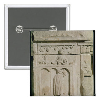 Relief depicting a wine merchant 2 inch square button