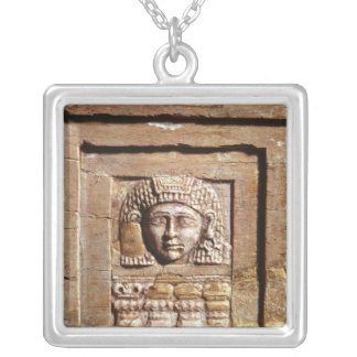Relief depicting a woman at a window silver plated necklace