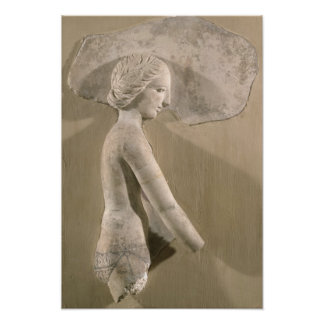 Relief depicting a woman in profile poster