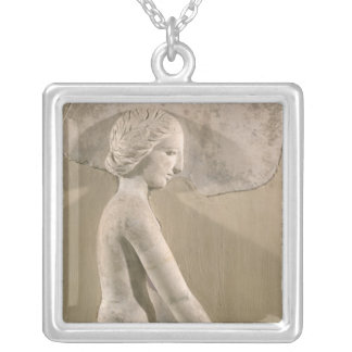 Relief depicting a woman in profile silver plated necklace
