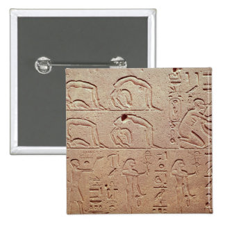 Relief depicting acrobats and a harpist 2 inch square button