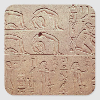 Relief depicting acrobats and a harpist square sticker