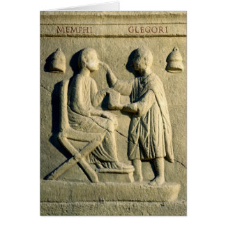 Relief depicting an oculist examining a patient card