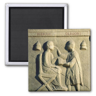 Relief depicting an oculist examining a patient magnet