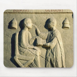 Relief depicting an oculist examining a patient mouse pad