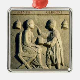Relief depicting an oculist examining a patient square metal christmas ornament