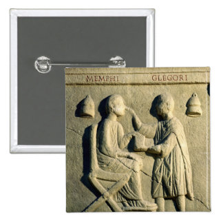 Relief depicting an oculist examining a patient pinback button