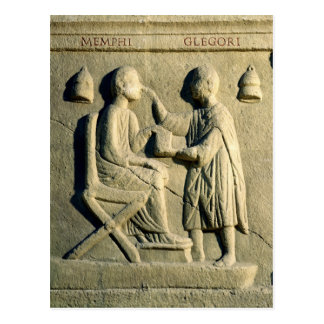 Relief depicting an oculist examining a patient postcard