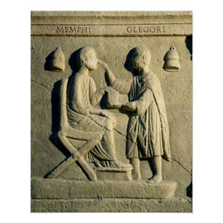 Relief depicting an oculist examining a patient poster