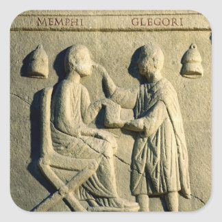 Relief depicting an oculist examining a patient square sticker