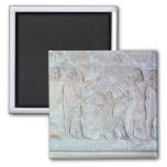 Relief depicting archers 2 inch square magnet