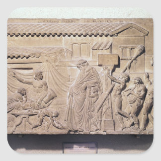 Relief depicting Dionysus at the home of Square Sticker