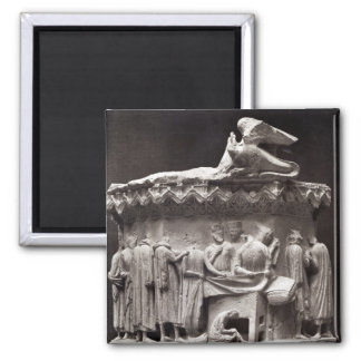 Relief depicting drapers magnet