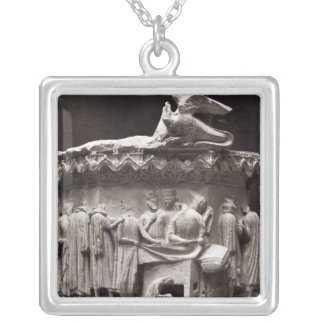 Relief depicting drapers silver plated necklace